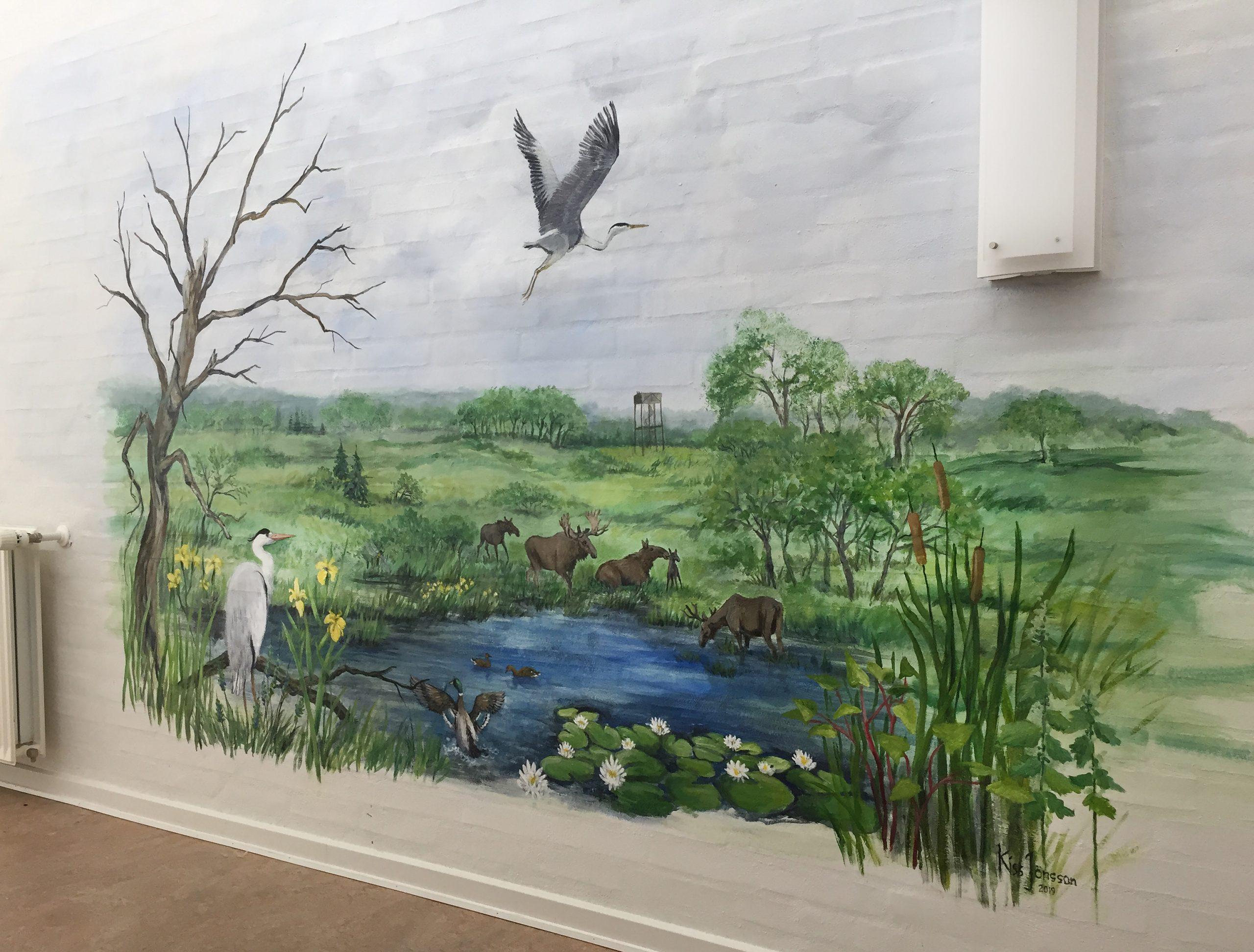 Vægmaleri af dyr fra Store Vildmose på Mou Plejecenter 2