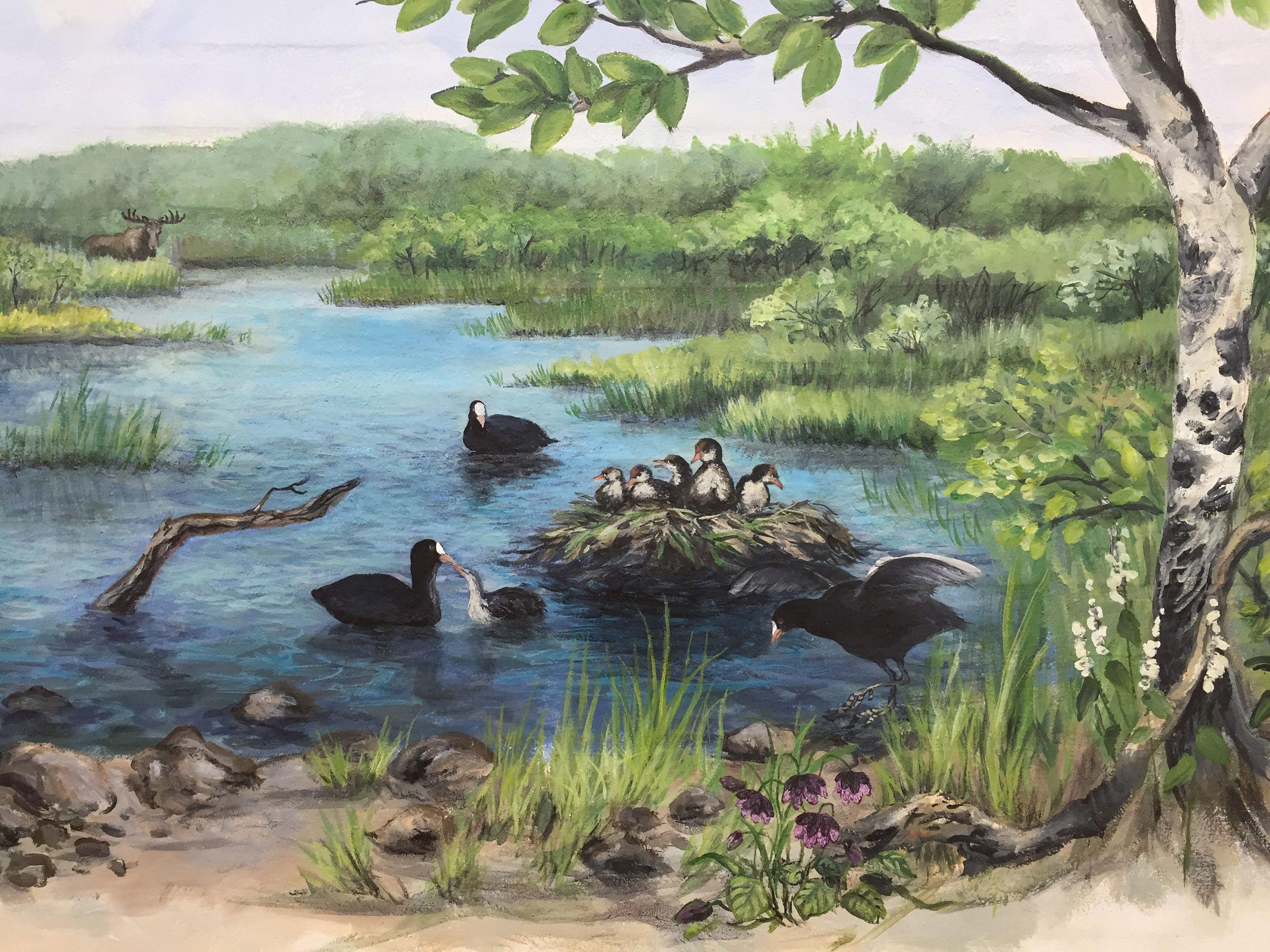 Vægmaleri af dyr fra Store Vildmose på Mou Plejecenter 5
