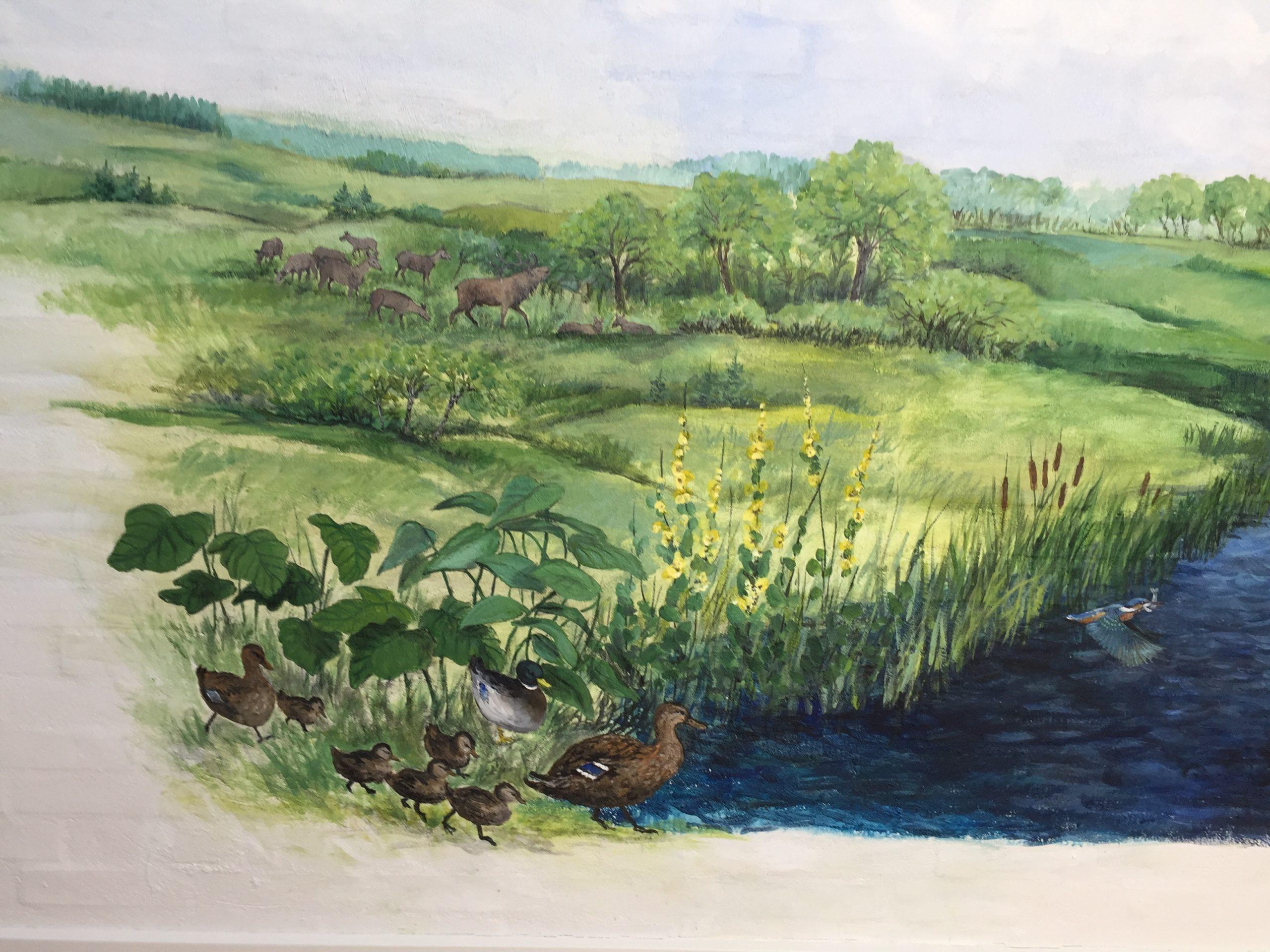 Vægmaleri af dyr fra Store Vildmose på Mou Plejecenter 6