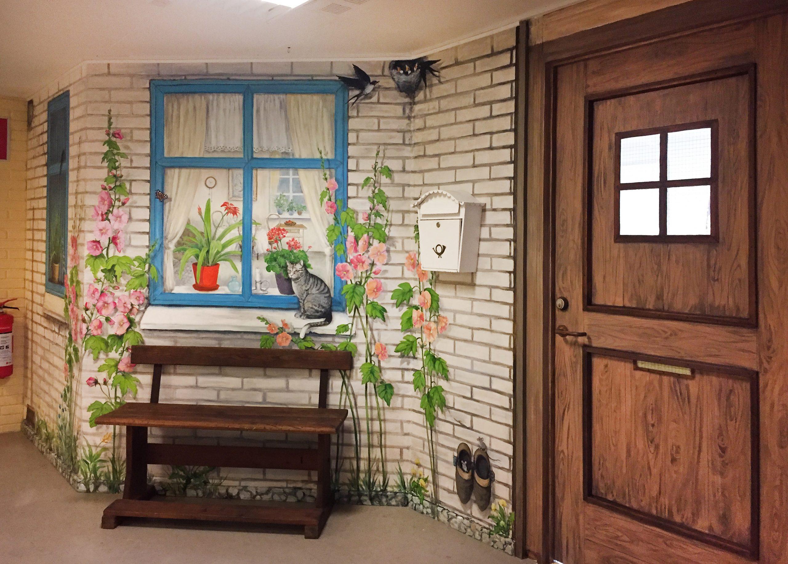 Vægmaleri af glasdør og murværk på Suldrup Ældrecenter 2