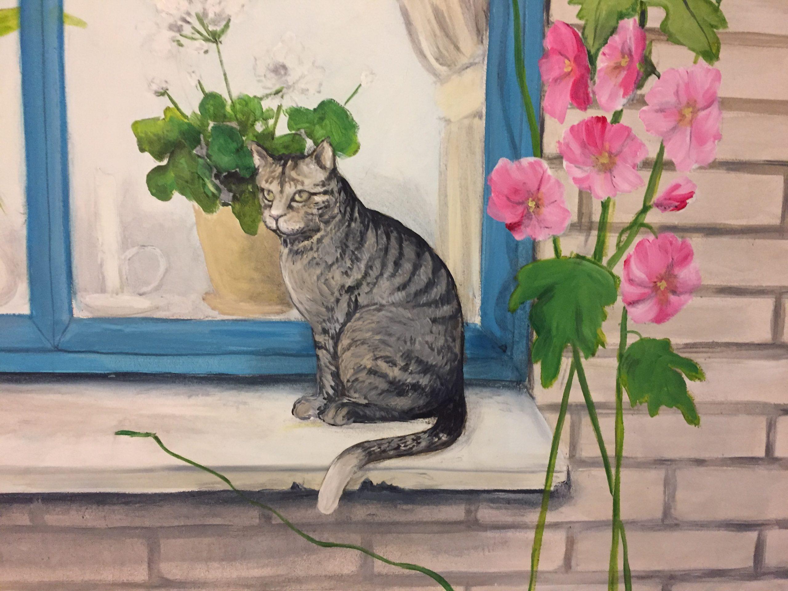Vægmaleri af kat, vindue og murværk Suldrup Ældrecenter 1