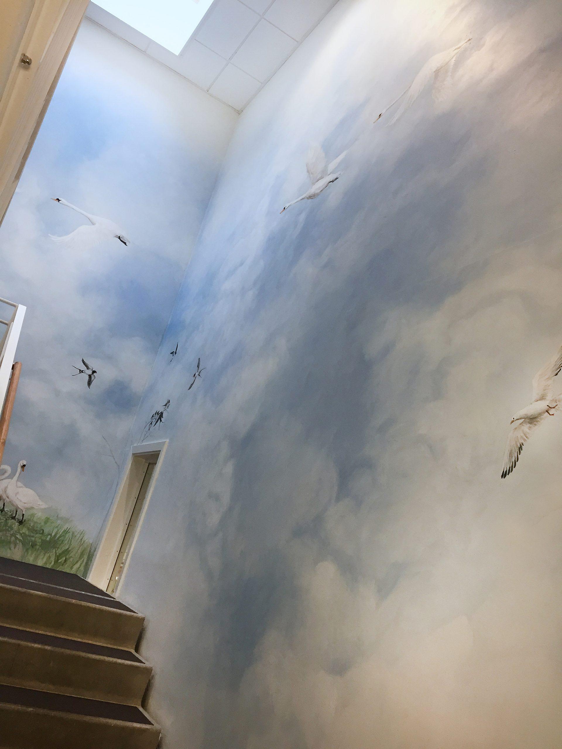 Vægmaleri i trappeopgang Kjellerup Friplejehjem 1