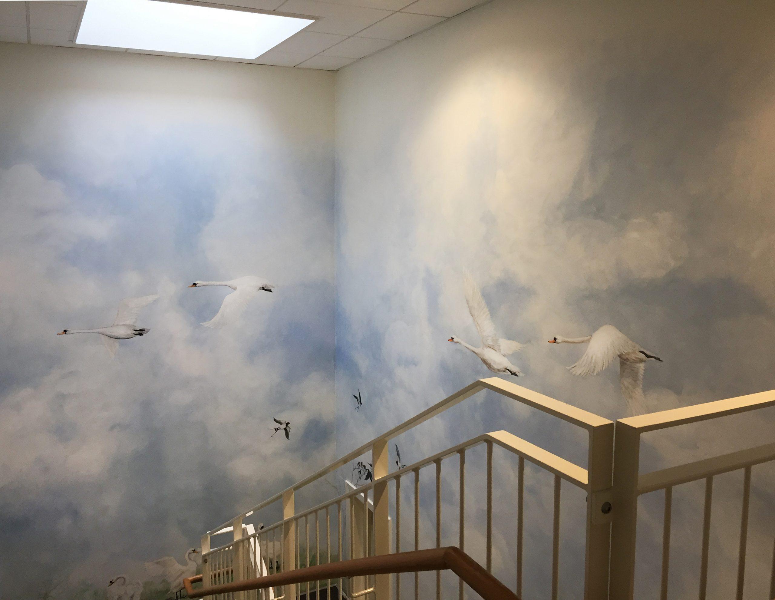 Vægmaleri i trappeopgang Kjellerup Friplejehjem 3