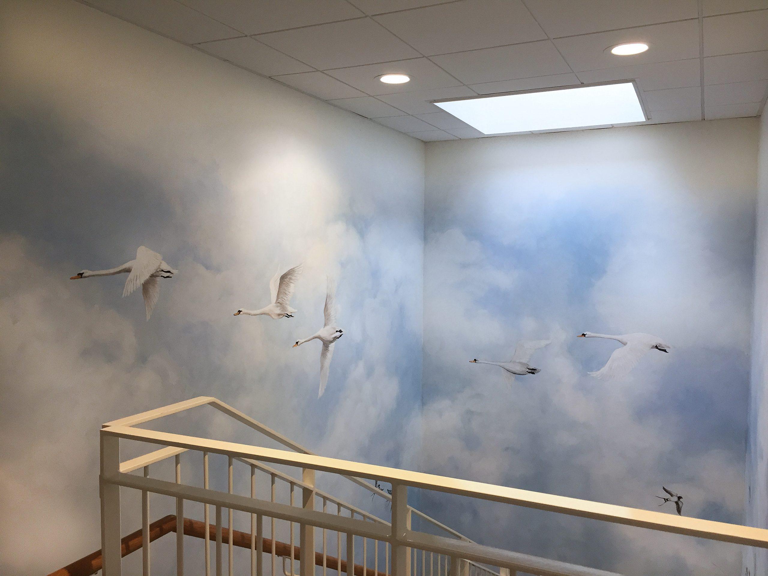 Vægmaleri i trappeopgang Kjellerup Friplejehjem 4