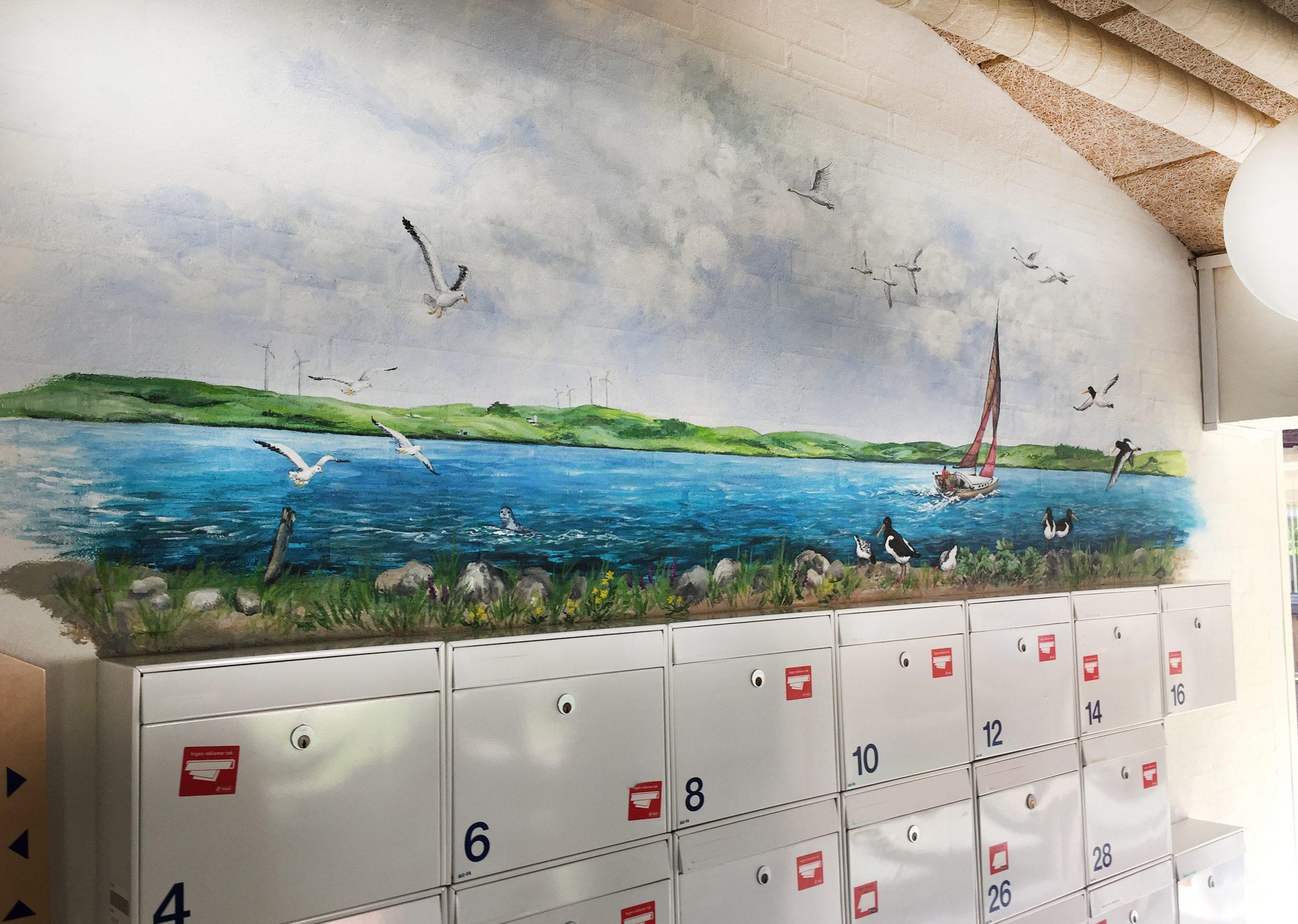 Vægmaleri over postkasser Sofiegården-1