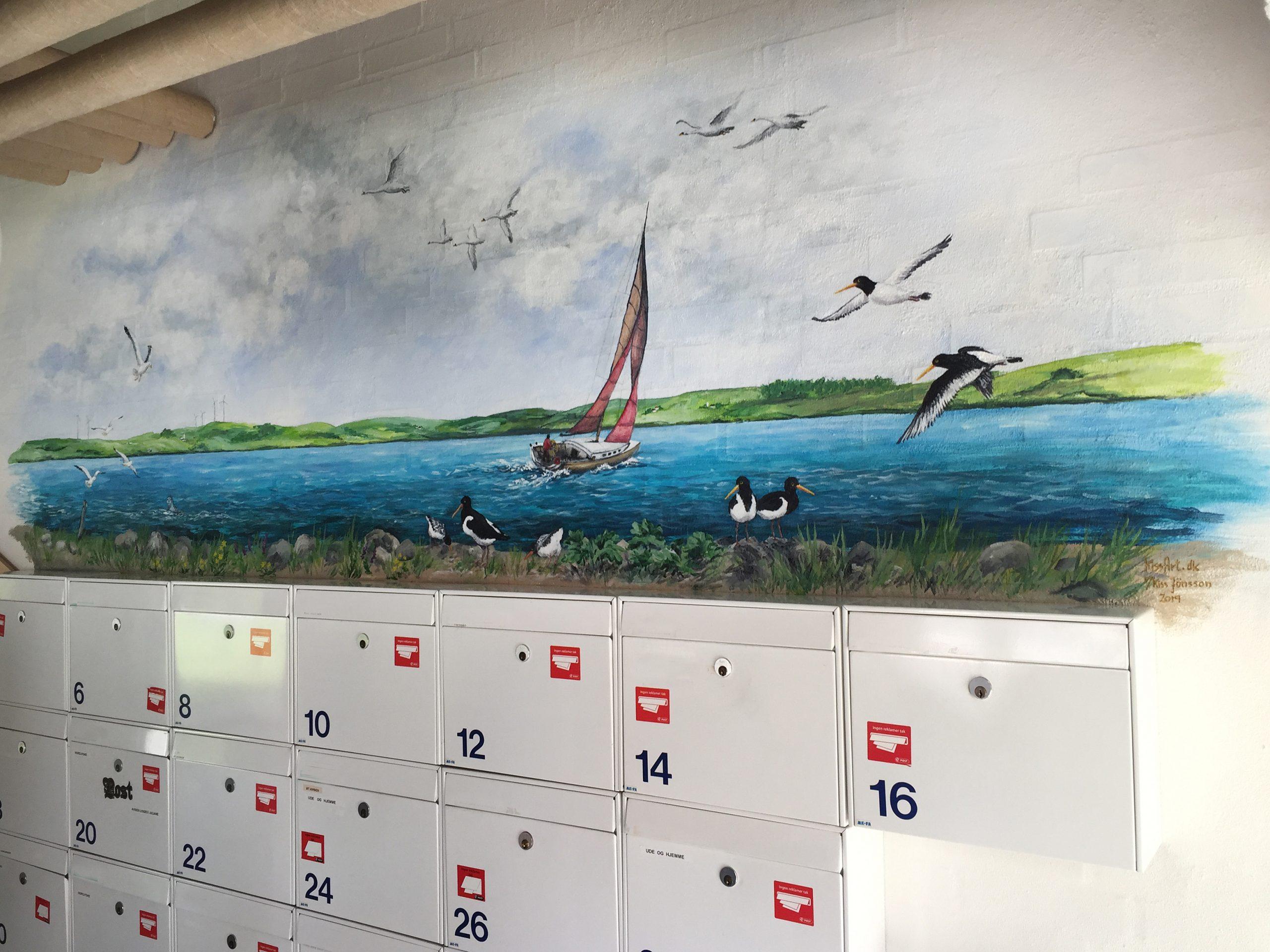 Vægmaleri over postkasser Sofiegården-2