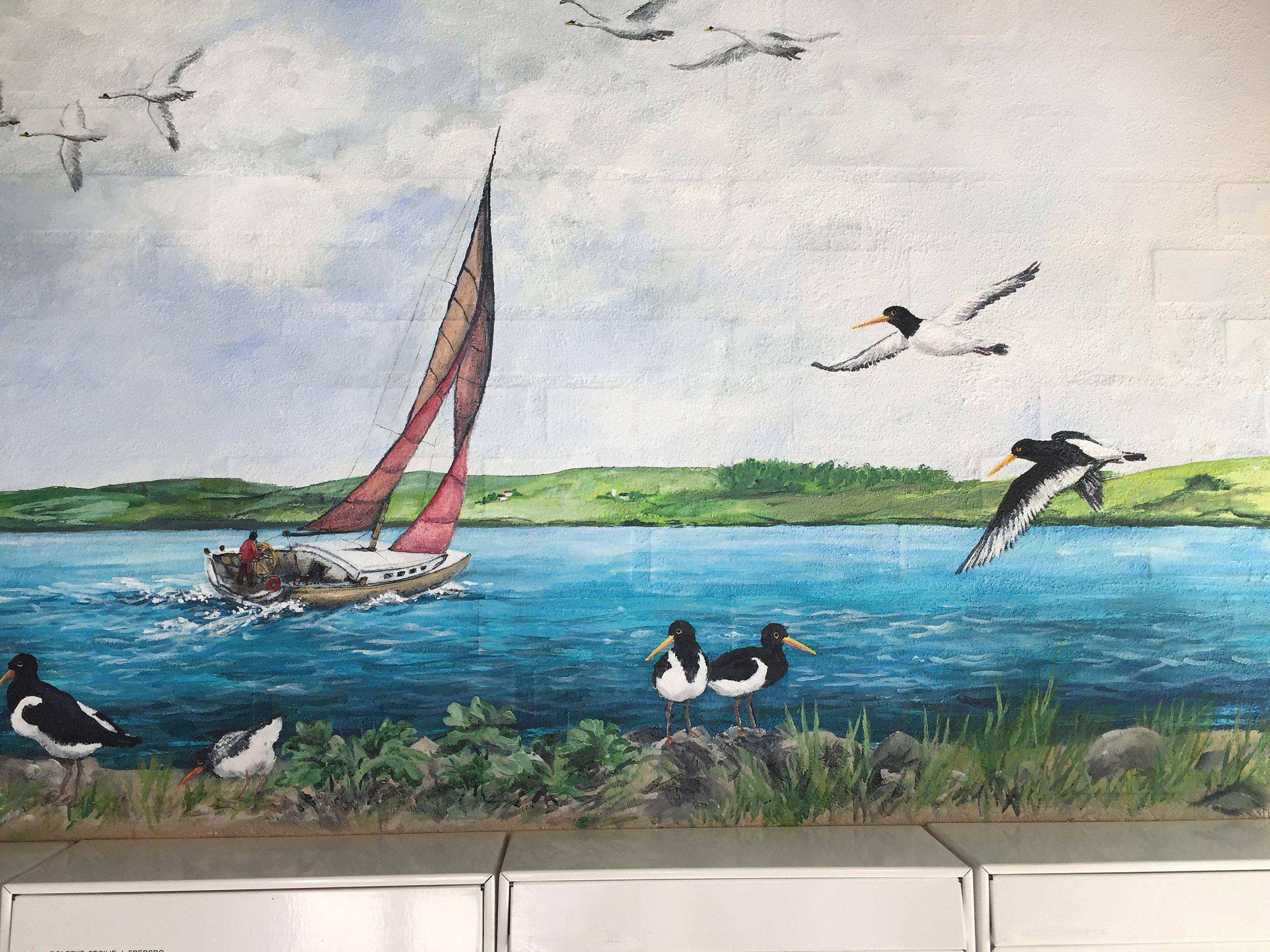 Vægmaleri over postkasser Sofiegården-3